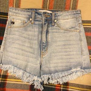 NWT KanCan High Rise Fringe Jean Shorts Size S